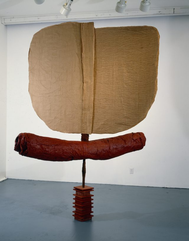 "Fandancer (For J.S.), 1997, wood, concrete, steel, paper, cardboard, paint, 108"" x 72"" x 36"""