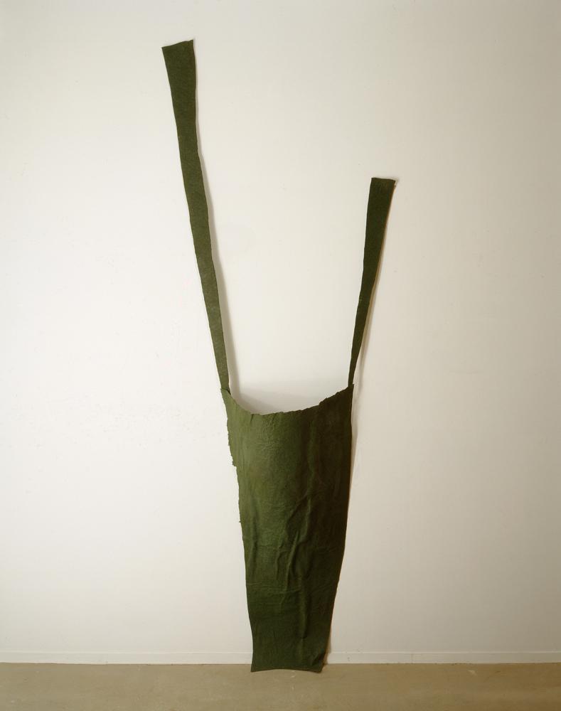 "Suspender, 1995, felt, glue, paint, 96"" x 33"" x 12"""
