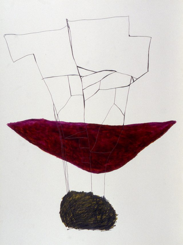 "Untitled, April 11, 1999 #1, oil stick & graphite on paper, 32"" x 24"""