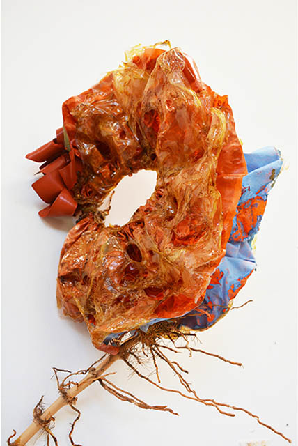 Stringy Rubbery Ruffled Orange and Blue